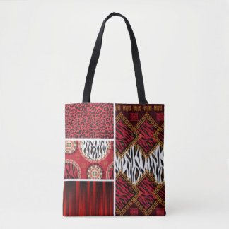 Red Animal Print and Patterns Collage Tote Bag