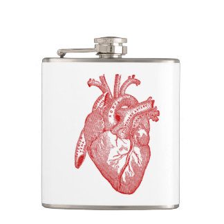 Red Antique Anatomical Heart Hip Flask