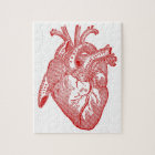 Red Antique Anatomical Heart Jigsaw Puzzle