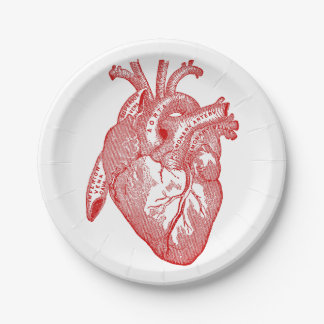 Red Antique Anatomical Heart Paper Plate
