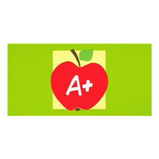 RED APPLE APLUS GRADES SCHOOL EDUCATION TEACHING PERSONALIZED PHOTO CARD