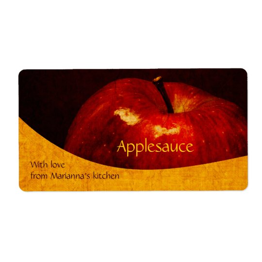 Red apple - applesauce home canning label