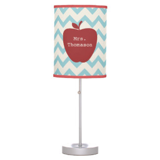 Red Apple Aqua Chevron Teacher Lamp