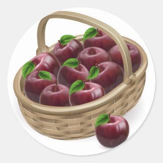 Red apple basket illustration classic round sticker