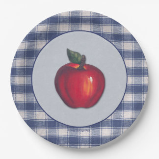 Red Apple Blue Plaid Border Paper Plate
