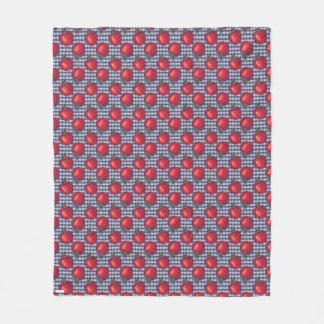 Red Apple Blue Plaid Fleece Blanket