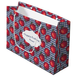Red Apple Blue Plaid Large Gift Bag