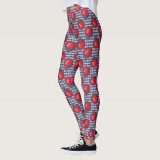 Red Apple Blue Plaid Leggings