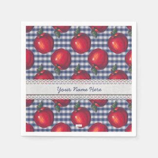 Red Apple Blue Plaid Paper Napkin
