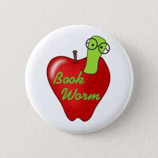 Red Apple Book  Worm 2 Inch Round Button