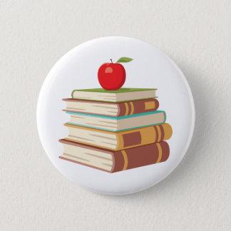 Red Apple & Books 2 Inch Round Button