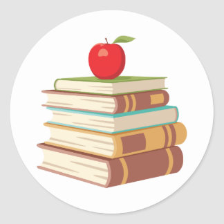 Red Apple & Books Classic Round Sticker