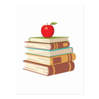 Red Apple & Books Postcard