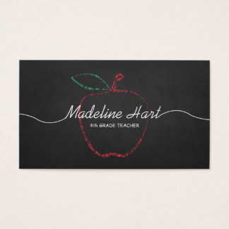 Red Apple Chalkboard Elementary School Teacher Business Card