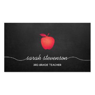 Red Apple Chalkboard Grade School Teacher Business Card