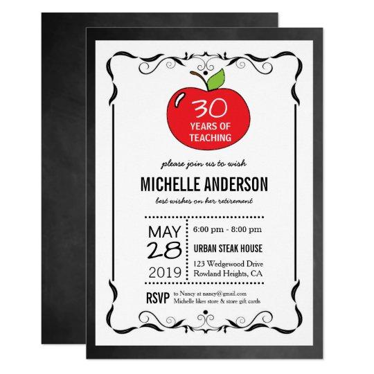 Red Apple Chalkboard Teacher Retirement Invites