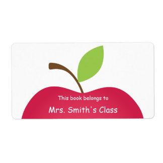 Red Apple Classroom Book Plate Shipping Label