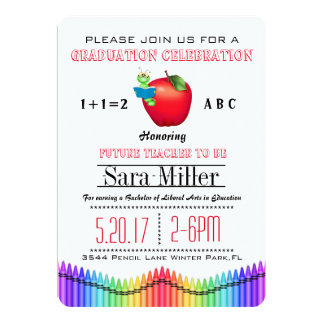 Red Apple/ Crayon Teacher Graduation Invitation