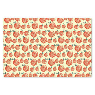 Red Apple Doodle Pattern Tissue Paper