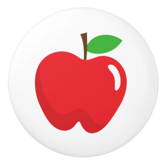 Red apple - fun design for kids ceramic knob