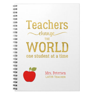 Red apple gold quote stylish university teacher notebook