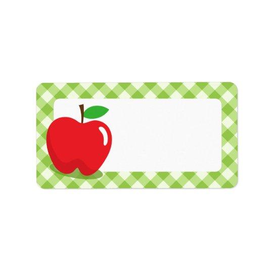 Red apple green gingham pattern border blank label