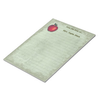 Red Apple Green Lined Notepad