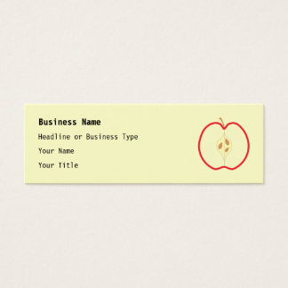 Red Apple Half, on cream background. Mini Business Card