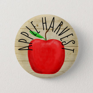 Red Apple Harvest Wooden Sign Button