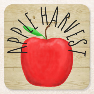 Red Apple Harvest Wooden Sign Paper Coaster