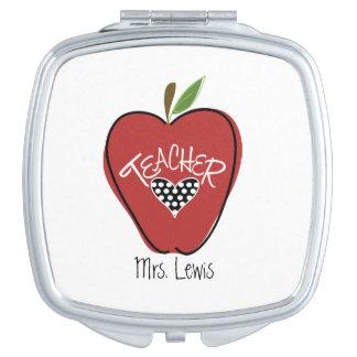 Red Apple Heart Teacher Compact Mirror