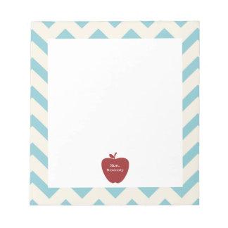 Red Apple Light Blue Chevron Teacher Notepad