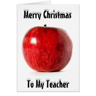 Red_Apple  Merry Christmas, To My Teacher Greeting Card