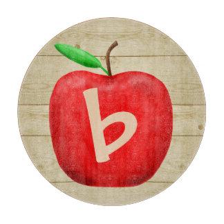 Red Apple Monogram Cutting Board