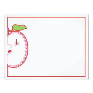 Red Apple Monogram Flat Note Card