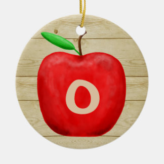 Red Apple Monogram Holiday Ceramic Ornament