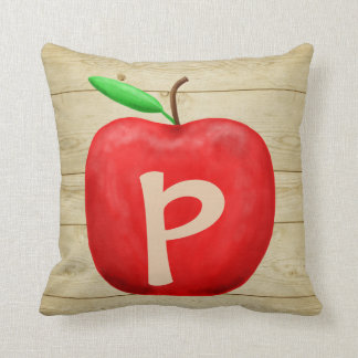 Red Apple Monogram Throw Pillow