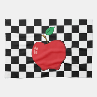 Red Apple on Black and White Checkerboard Kitchen Towel
