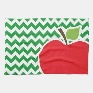Red Apple on Retro Kelly Green Chevron Stripes Towel