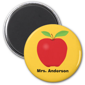 Red Apple on Yellow background and personalized Magnet