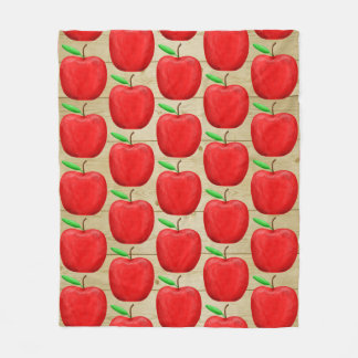 Red Apple Painted Fleece Blanket