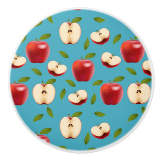 Red Apple Pattern Ceramic Knob
