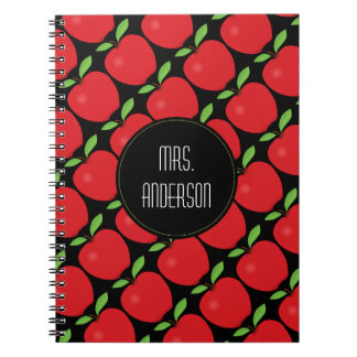 Red Apple Pattern, Personalized Teacher Notebooks
