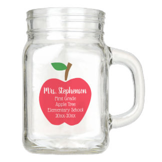 Red Apple Personalized Gift Teacher Appreciation Mason Jar