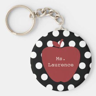 Red Apple & Polka Dot Teacher Basic Round Button Keychain