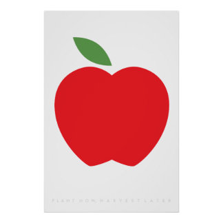 Red Apple Retro Poster 60's 70's Quote