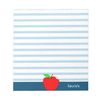 Red Apple Teacher Personalized Blue lines Notepad