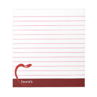 Red Apple Teacher Personalized Classic Lines Ruled Notepad