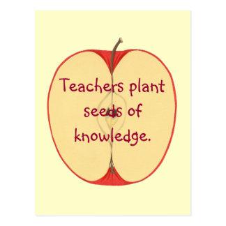 Red Apple Teachers Plant Seeds, Knowledge Postcard