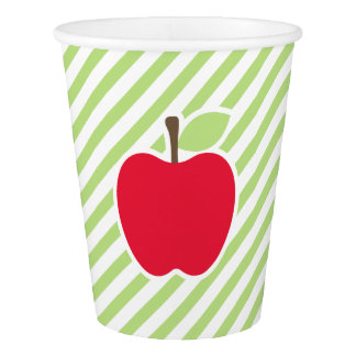 Red Apple With Green and White Stripes Paper Cup